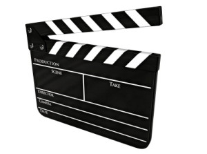 Clapboard (clapperboard) isolated