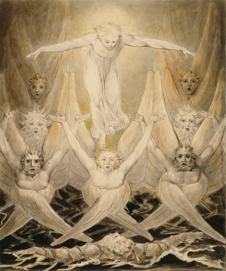 David Delivered out of Many Waters circa 1805 by William Blake 1757-1827