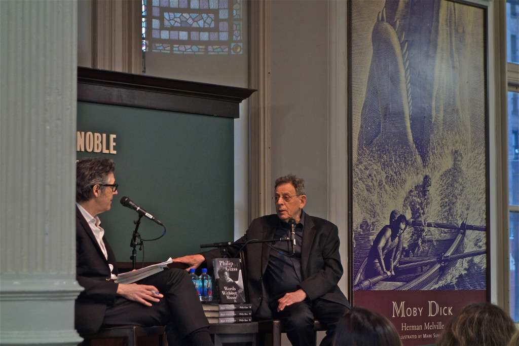 Philip Glass with Ira Glass at Barnes & Noble, Uniion Square, NYC. 3/6/2015