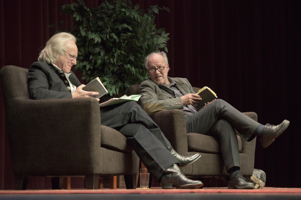 Legendary film director Werner Herzog discusses J.A. Baker's book The Peregrine with Robert Pogue Harrison, a Stanford professor of Italian literature, at the Feb. 2 Another Look book club event.