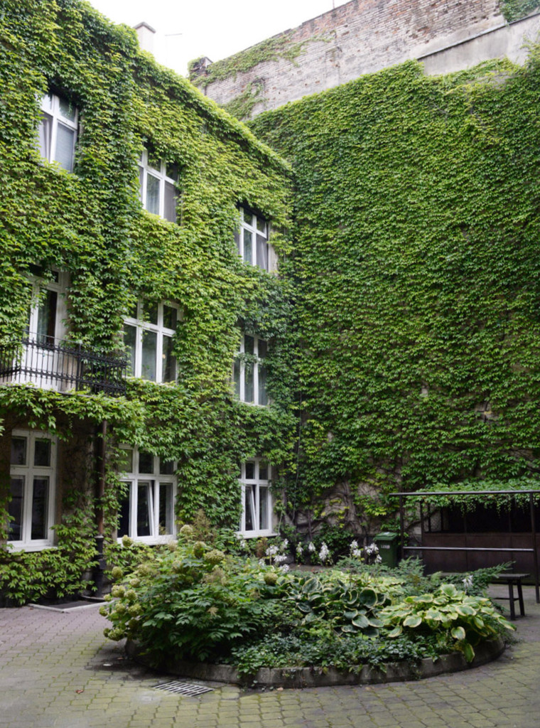 Courtyard overloking Nobel Laureat's Czeslaw Milosz's apartment. 8.13.2016. Krakow. Poland
