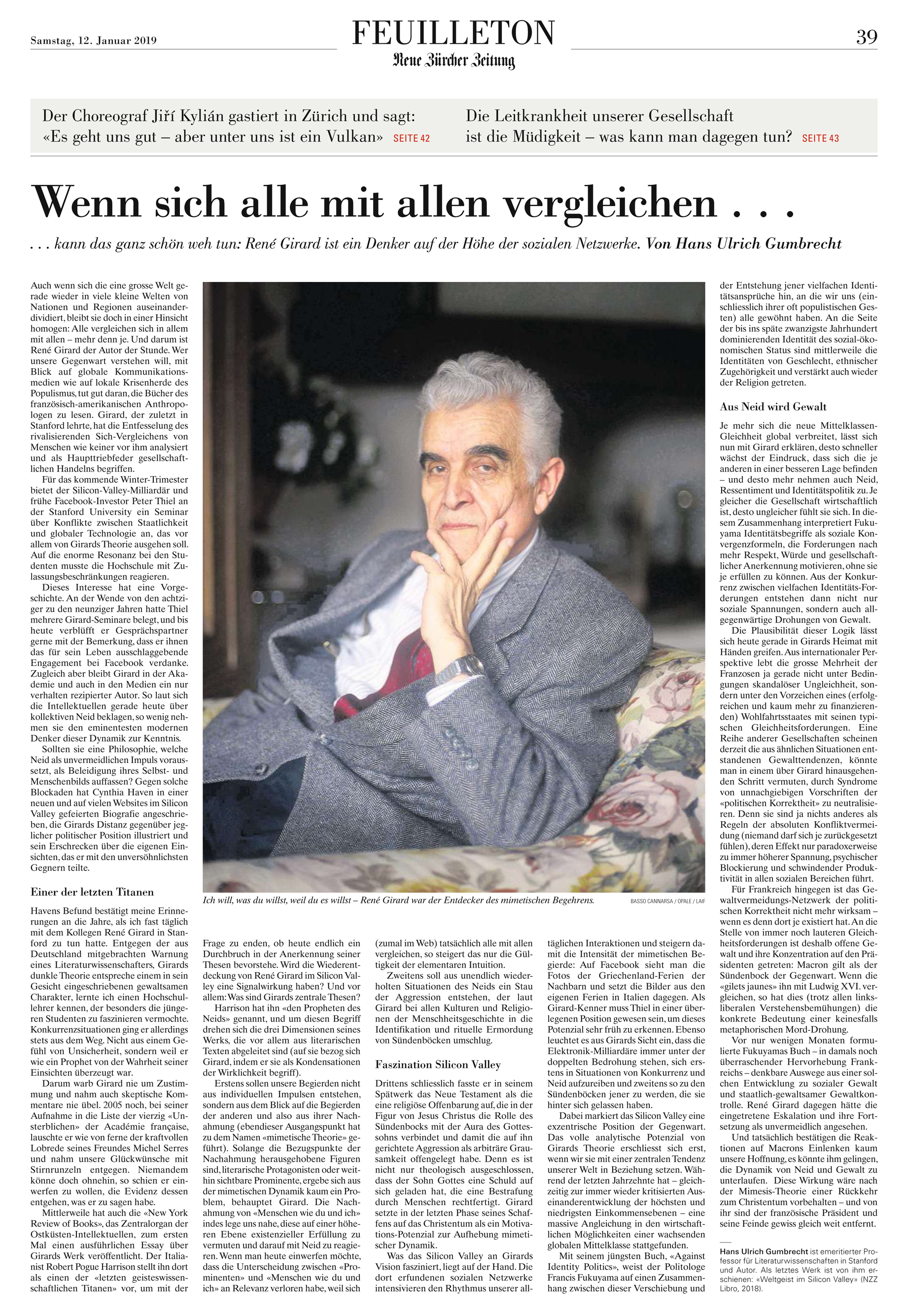 f58cd67fb7a Evolution of Desire  A Life of René Girard is going into its third printing  in its first year! Here s some more good news  an article in Zürich s Neue  ...